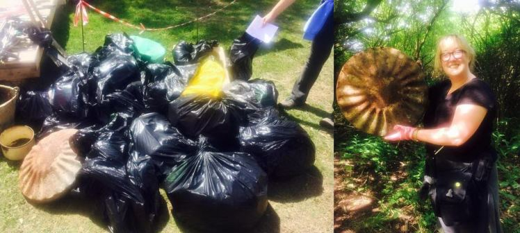 Our haul of rubbish (left) and me with that dustbin lid!