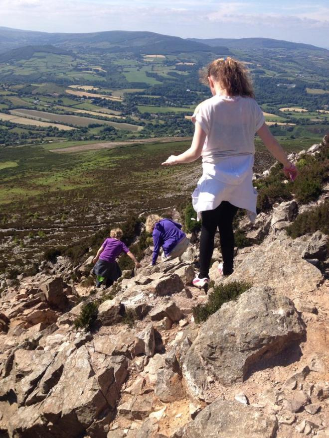 Dealing with the terrain at the top of Sugarloaf Mountain, County Wicklow