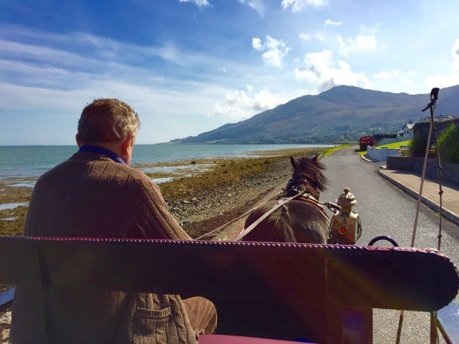 Smokey the horse and his master with Slieve Foye in the background