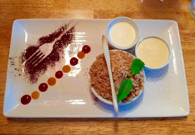 Pear & Apple Crumble at Kingfisher Bistro