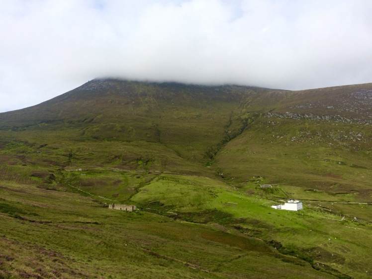 A view to Croaghaun Mountain under cloud cover from Achill Head