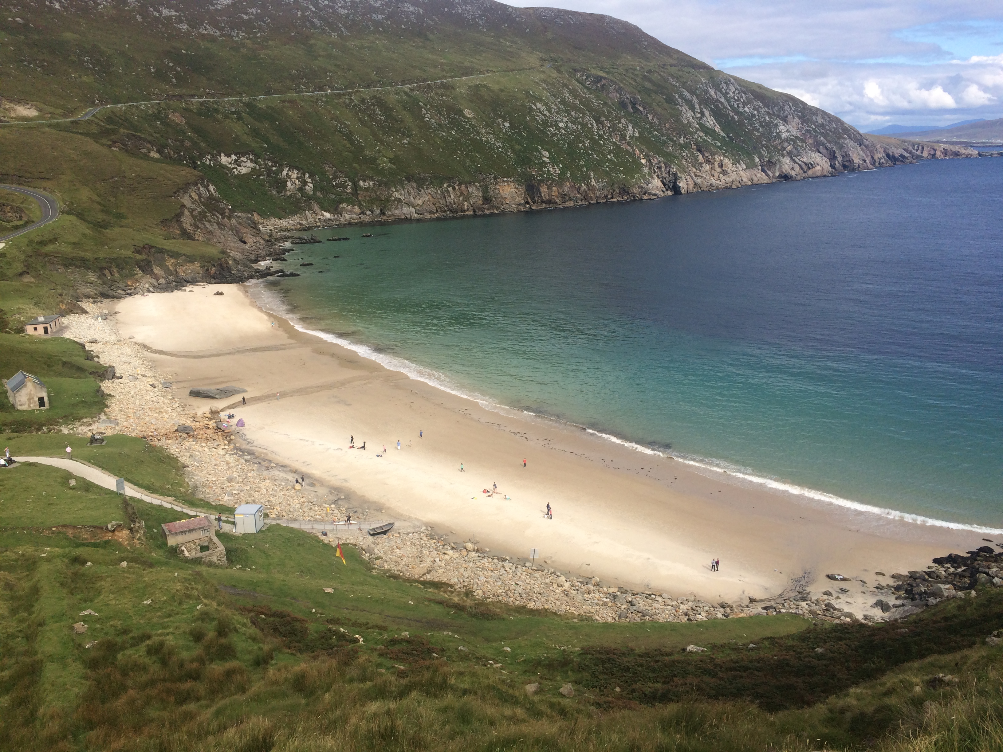 A view down to Keem Bay from half way up Achill Head
