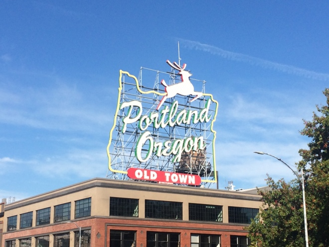 The famous White Stag sign in Portland Old Town