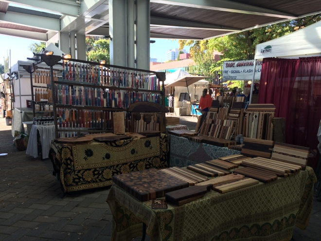 Some of the booths at the Saturday Market