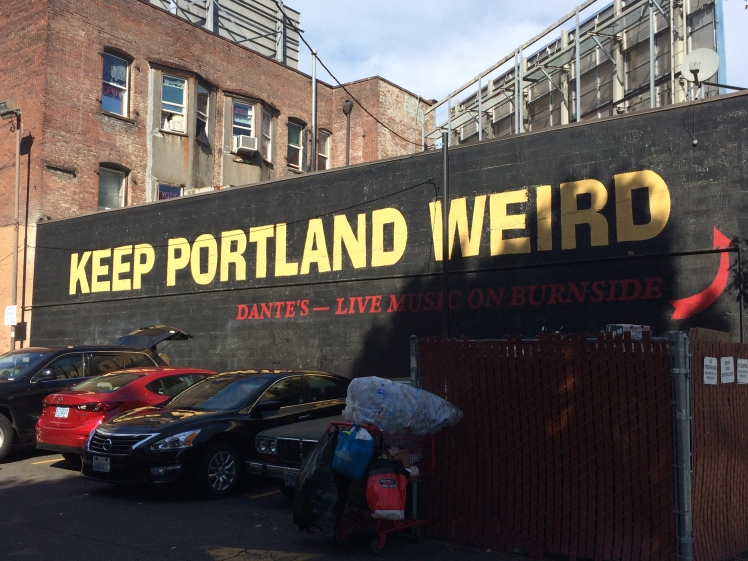 Keep Portland Weird sign in Old Town