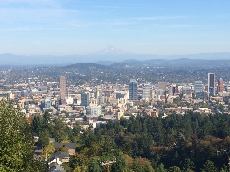 View of downtown Portland and Mount Hood from Pittock Mansion