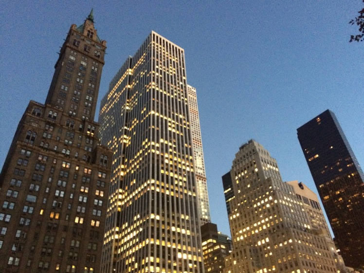 Buildings on 59th Street at dusk, taken from the park