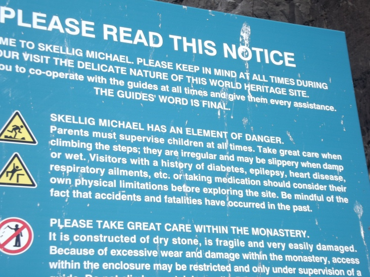 skellig michael kerry ireland notice board