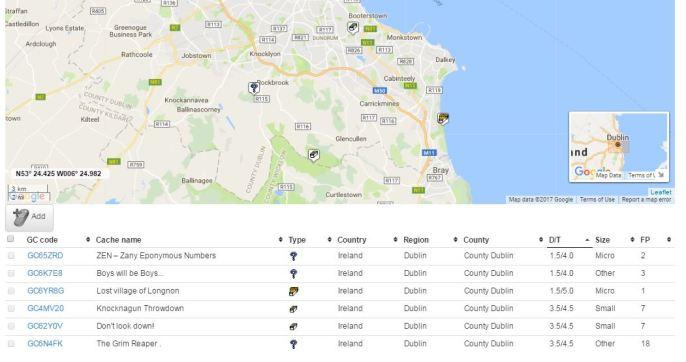 The Geocaching Junkie Map DT Matrix